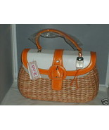 MAGGI B Woven Cornhusk White Orange Vinyl Handbag Purse Bag NWT MINT MSR... - $43.88