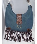 MAGGI B Blue Cotton Denim w/Brown Suede Fringe Handbag Bag Purse NWT MSR... - $48.00