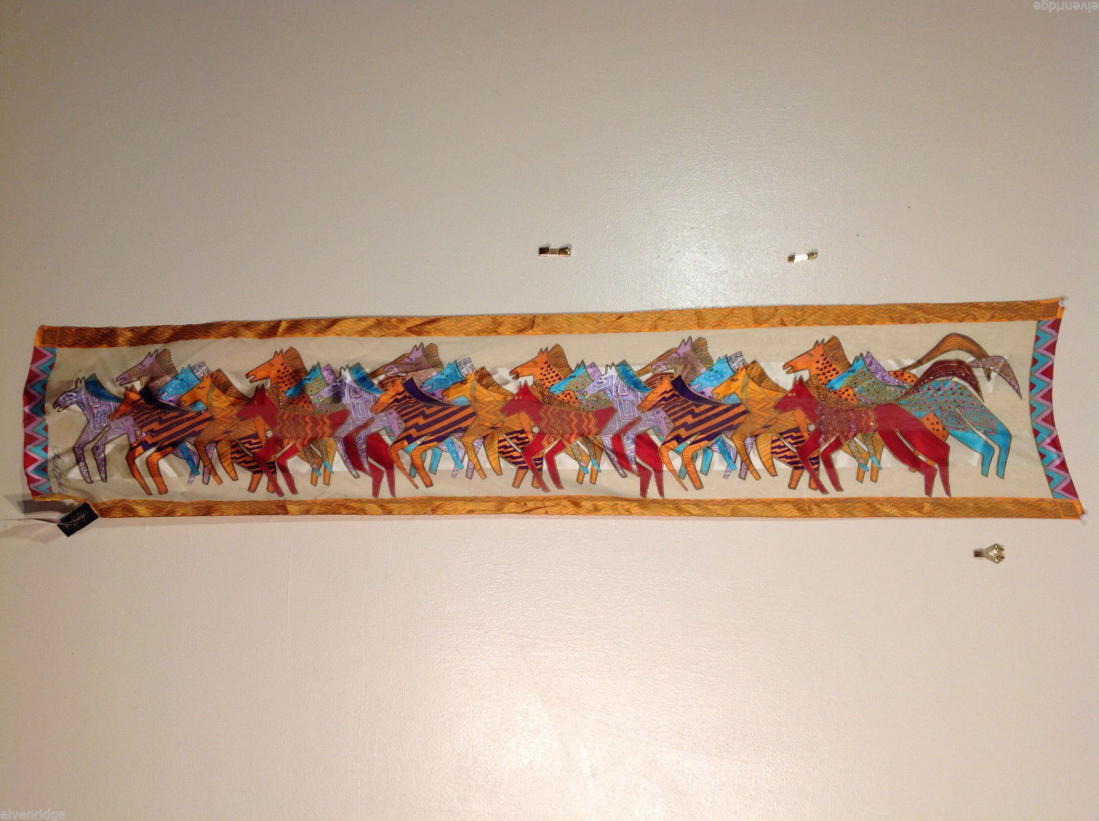 Laurel Burch 100% Pure Silk Scarf in Horses Print Embellished w/ Beads, Sequins