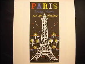 Reprint Vintage Paris Poster Eiffel tower Sunlane