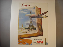 Reproduction Print of Vintage Travel Poster for Paris via TWA 1950s