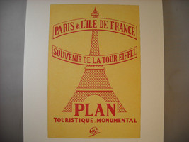 Reproduction Print of Vintage Travel Tourist Map Cover Poster for Paris