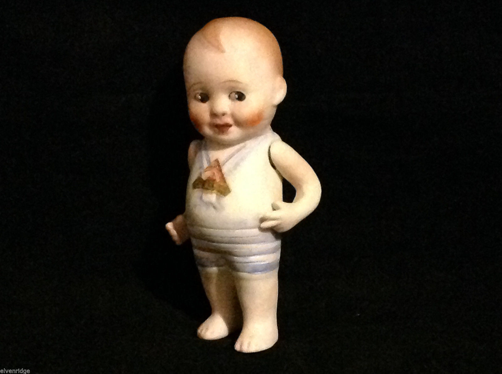 Vintage Antique Painted Ceramic Cute Standing Baby Figurine in Sailor Outfit