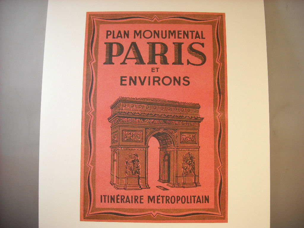 Reproduction Print Poster of vintage tourist map cover of Paris and Environs