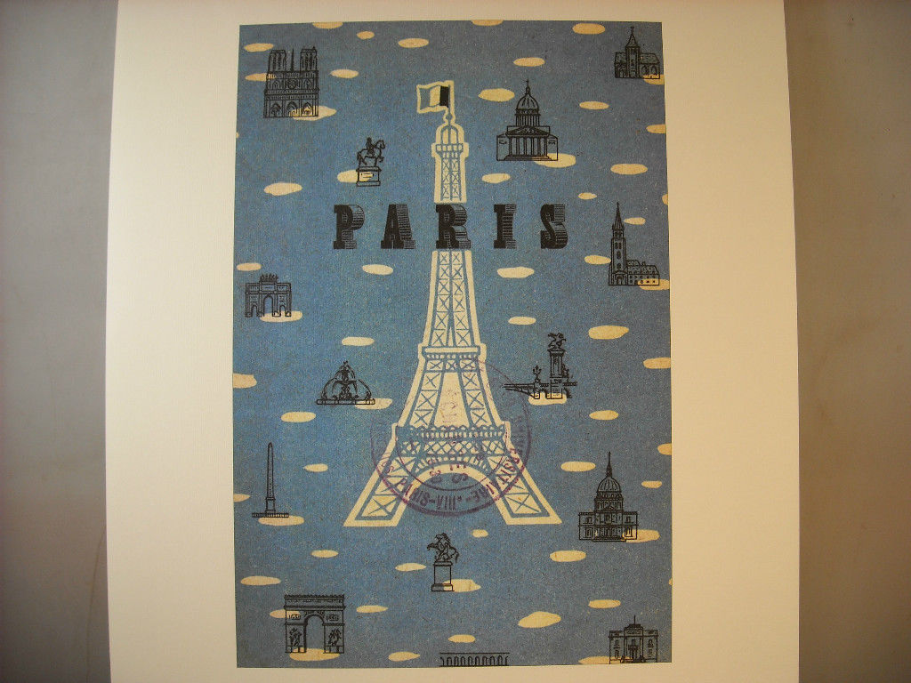 Reproduction Print Poster of vintage Postcard from Paris