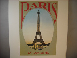 Reproduction Print of Vintage Postcard Eiffel Tower Poster