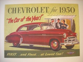 Vintage 1950 Chevrolet Ad Reprint Poster