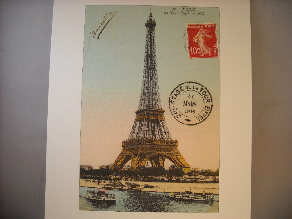 Vintage Color Reprint Paris Postcard Travel Poster Eiffel Tower 1910 with Seine