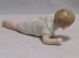 Vintage Antique Painted Ceramic Cute Crawling Baby Figurine in White One piece image 2