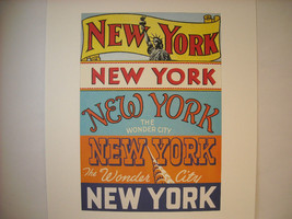 Vintage New York City Colorful Reproduction of 5 different Printed Headers