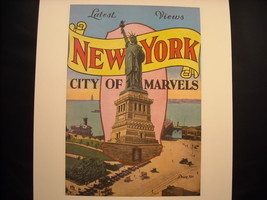 Vintage New York City Print Statue of Liberty Poster