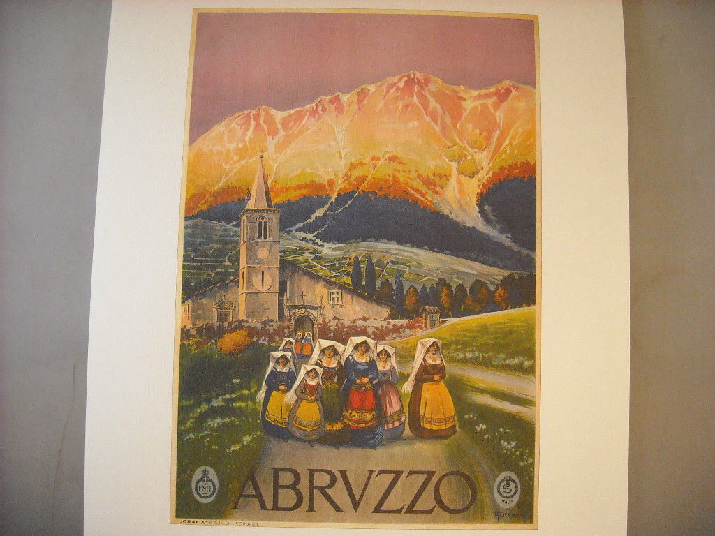 Vintage Reprint Color Travel Ad for Abruzzo Italy 1920 French Poster Nuns