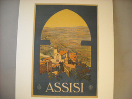 Vintage Reprint Color Travel Ad for Assisi Italy 1920 French