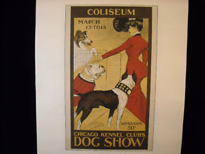 Vintage Italian Color Reprint Chicago Kennel Club Dog Poster 1902