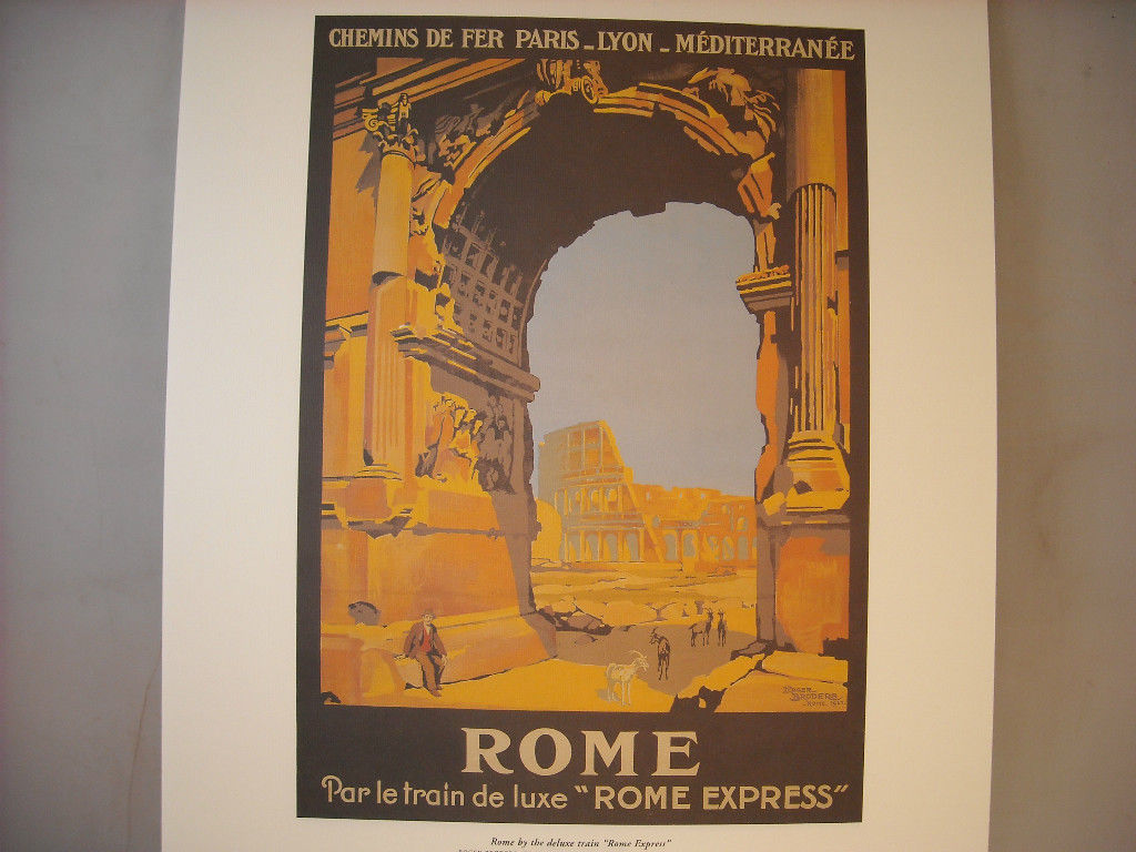 Vintage Reprint Color Travel Ad for Rome Express Italy 1921 French