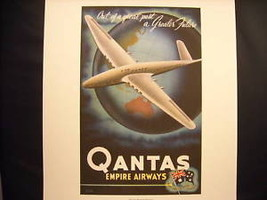 Vintage Reprint Color Travel Ad 1955 Qantas Empire Airways Airplane World Poster