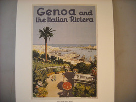Vintage Reprint Color Travel Ad Genoa Italian Riviera Italy 1931 French Poster