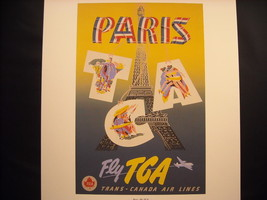 Vintage Reprint Color Travel Ad 1955 Paris Trans Canada Air Lines TCA Poster