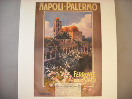 Vintage Reprint Color Travel Ad Napoli-Palermo Station Italy 1920 French Poster