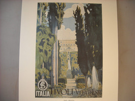 Vintage Reprint Color Travel Ad for Tivoli Palace and Garden Italy 1925 French