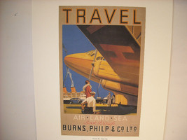 Vintage Reprint Color 1935 Travel Ad Burns Philip & Co Land and Sea Travel