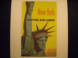 Vintage New York City Print United Airlines Ad