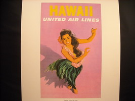 Vintage Reprint Color 1960 Travel Ad Hawaii United Air Lines Poster Hula Girl