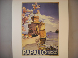Vintage Reprint Color Travel Ad for Rapallo Genova Italy 1937 French Poster
