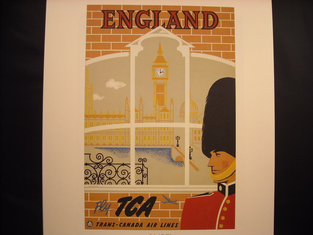 Vintage Reprint Color 1955 Travel Poster England Trans Canada Air Big Ben Bobby