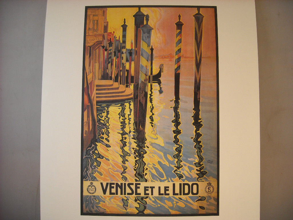 Vintage Reprint Color Travel Ad for Venice and Lido Italy 1920 French Poster