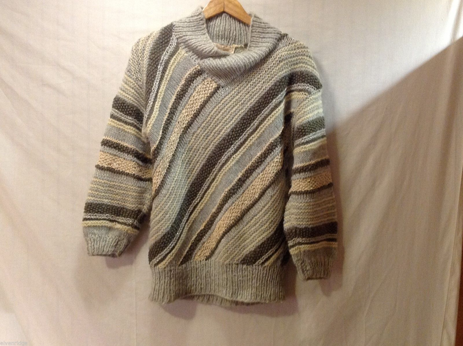 Womens Tuula BJork Gray and Cream Sweater, See Measurements for Size