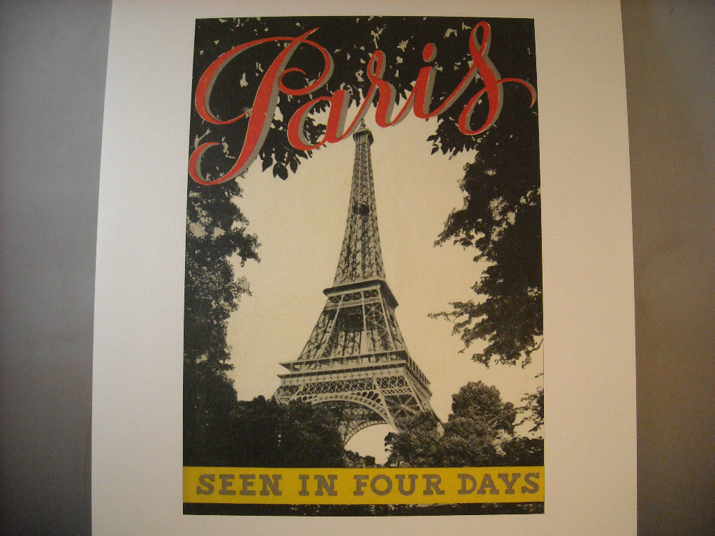 Vintage Reprint Color Travel (Red) Paris Seen In Four Days (Black) Eiffel Tower
