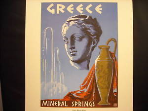 Vintage Reprint Travel Ad 1950 Greece Mineral Springs Urn Sculpture Head Poster