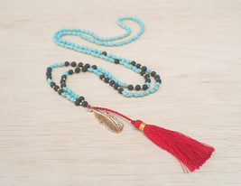 Red Tassel Mala Necklace With Gold Feather Charm - Aqua Turquoise And Bl... - $34.00