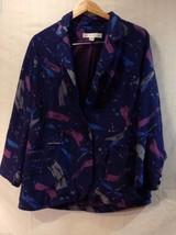 Womens Paul Alexander Silk Like Navy Blue Blazer, Size 12