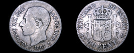 1881(81) MS-M Spanish 50 Centimos World Silver Coin - Spain - $24.99