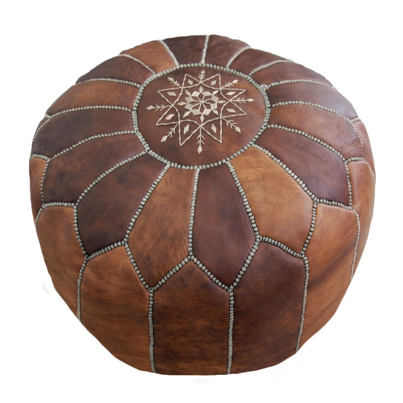 Hand stitched & embroidered Leather Ottoman Poof /  Pouf Cuir /Morrocan Pouf veg
