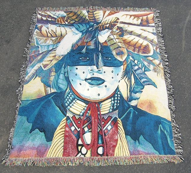 """DOG SOLDIER"" NATIVE AMERICAN INDIAN AFGHAN"