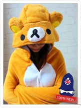Cute Brown Rilakkuma Bear Soft Comfortable plush Costume Cloak Shawl Cap... - €12,30 EUR