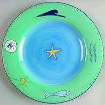 Brushes K.I.C. HandPainted Large Dinner Plate Blue Green Ocean Seaside C... - $28.00