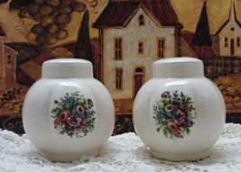 Vintage Large Round Floral Design Salt & Pepper... - $12.00