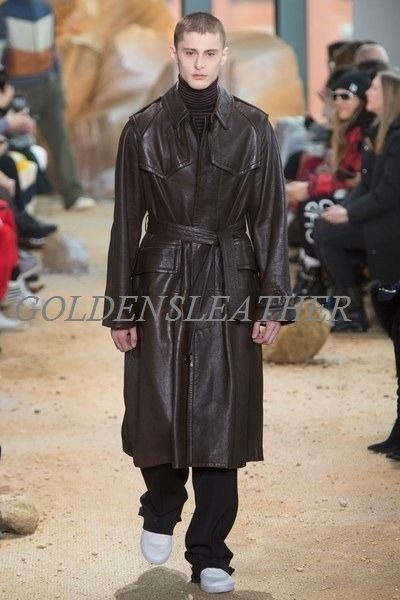 WINTER MEN LEATHER COAT TAILOR MADE REAL GENUINE LEATHER TRENCH COAT -05