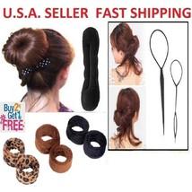 4x Topsy Tail Ponytail Braid Maker+ 2x Magic Sponge+  1x French Hair Bun Tool - $5.98