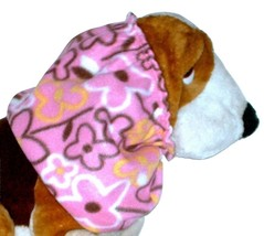 Pink Black Yellow White Flowers Fleece Dog Snood by Howlin Hounds Size L... - $12.50