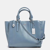 Coach Crosby Silver/Cornflower Leather Fabric Lining Zip Top Closure Car... - $565.99