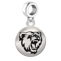 Bridgewater State Bears Silver Circle Dangle Fit All Bead Charm Bracelets - £27.96 GBP