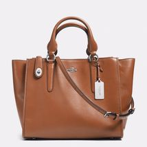Handbag Coach Saddle Crosby Carryall In Leather Zip Top Closure Satchel - $525.86