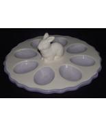 Easter Rabbit Bunny Deviled Eggs Dish Tray White Lilac Ceramic Purple Ta... - $32.66