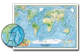 """World National Geographic - 31"""" x 46"""" Wall Map (Physical - Laminated) - $29.99"""