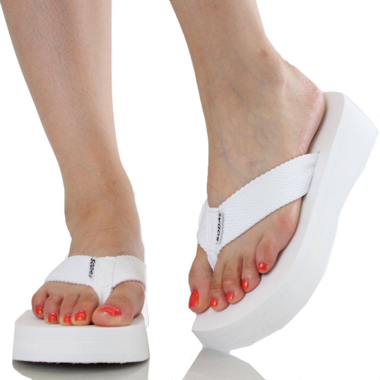 dcfba816374b4 Soda Aiken Women s Foam Platform Thong Flip Flop Beach Sandals White Size 10